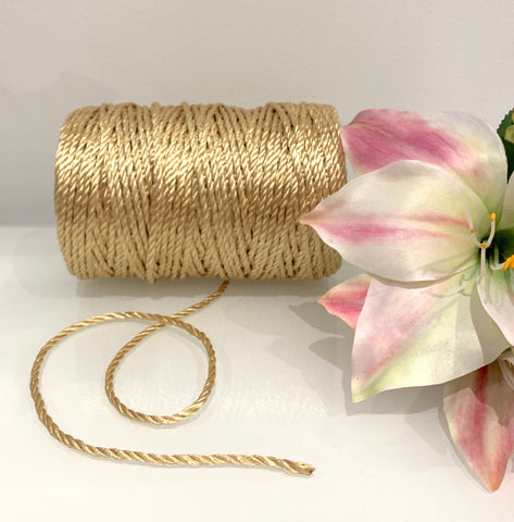 1kg Metallic Gold 3ply Nylon Rope - 4mm