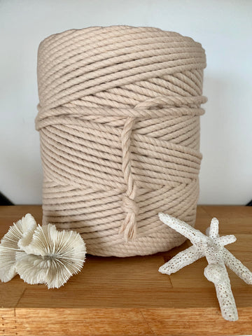 1kg 5mm 100% Pure Deluxe Cotton 3ply Rope - Sand