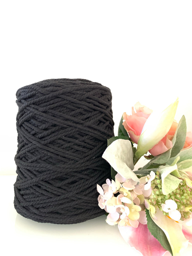 1kg Coloured 3 ply Cotton Rope - 4mm - Black