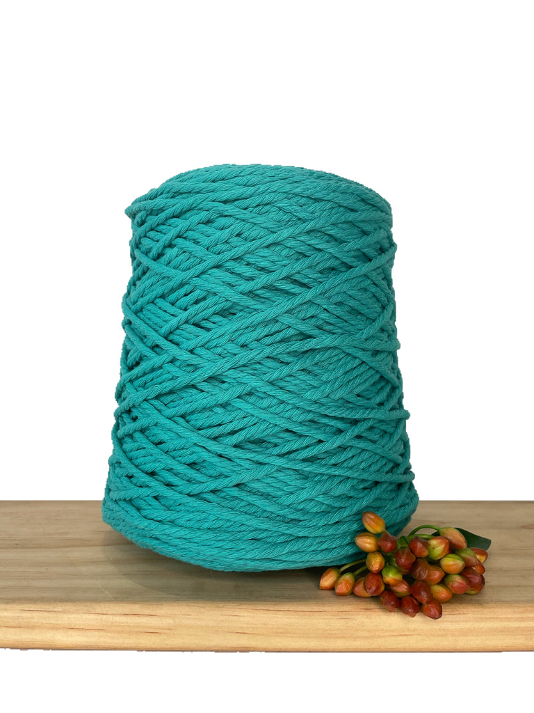 1kg Coloured 3 ply Cotton Rope - 3mm - New Teal