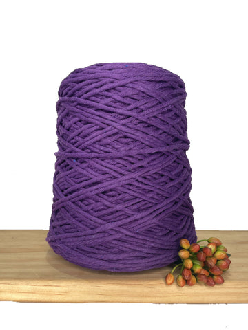 1kg Coloured 1ply Recycled Cotton String - 3mm - Cadbury Purple