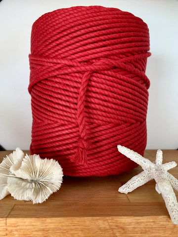 1kg 5mm 100% Pure Deluxe Cotton 3ply Rope - Pompei Red