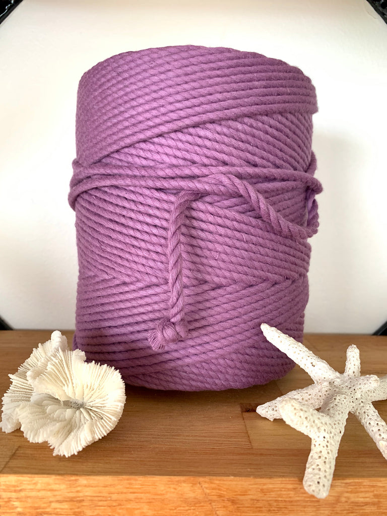 1kg 5mm 100% Pure Deluxe Cotton 3ply Rope - Grape