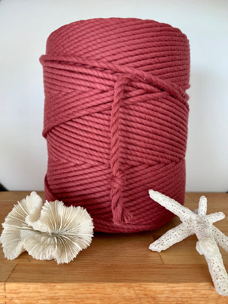 1kg 5mm 100% Pure Deluxe Cotton 3ply Rope - Rouge