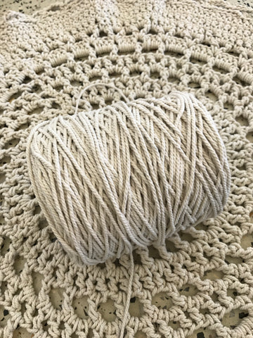 1kg Natural 3ply Cotton Rope - 3mm