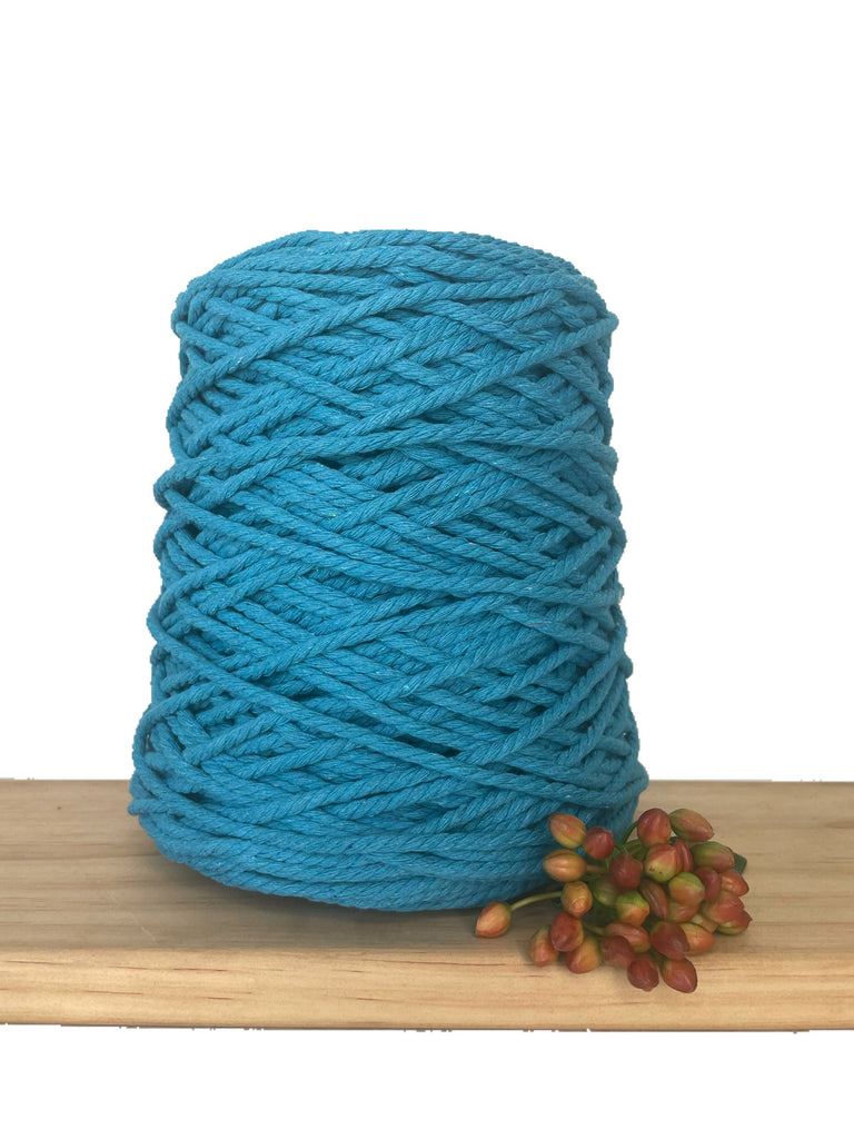 1kg Coloured 3 ply Recycled Cotton Rope - 4mm - Aquamarine