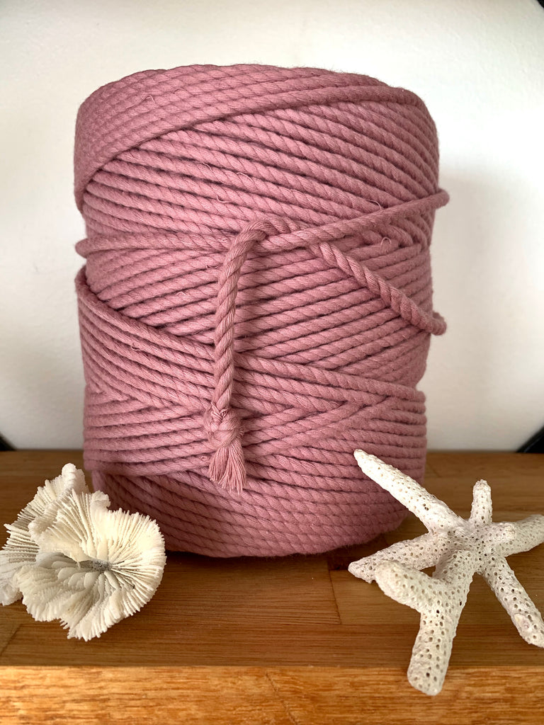 1kg 5mm 100% Pure Deluxe Cotton 3ply Rope - Rose