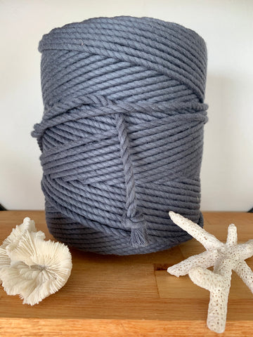 1kg 5mm 100% Pure Deluxe Cotton 3ply Rope - Graphite