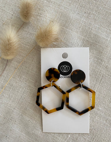Tortoiseshell Earrings Frame - Hexagon - 5 pair pack