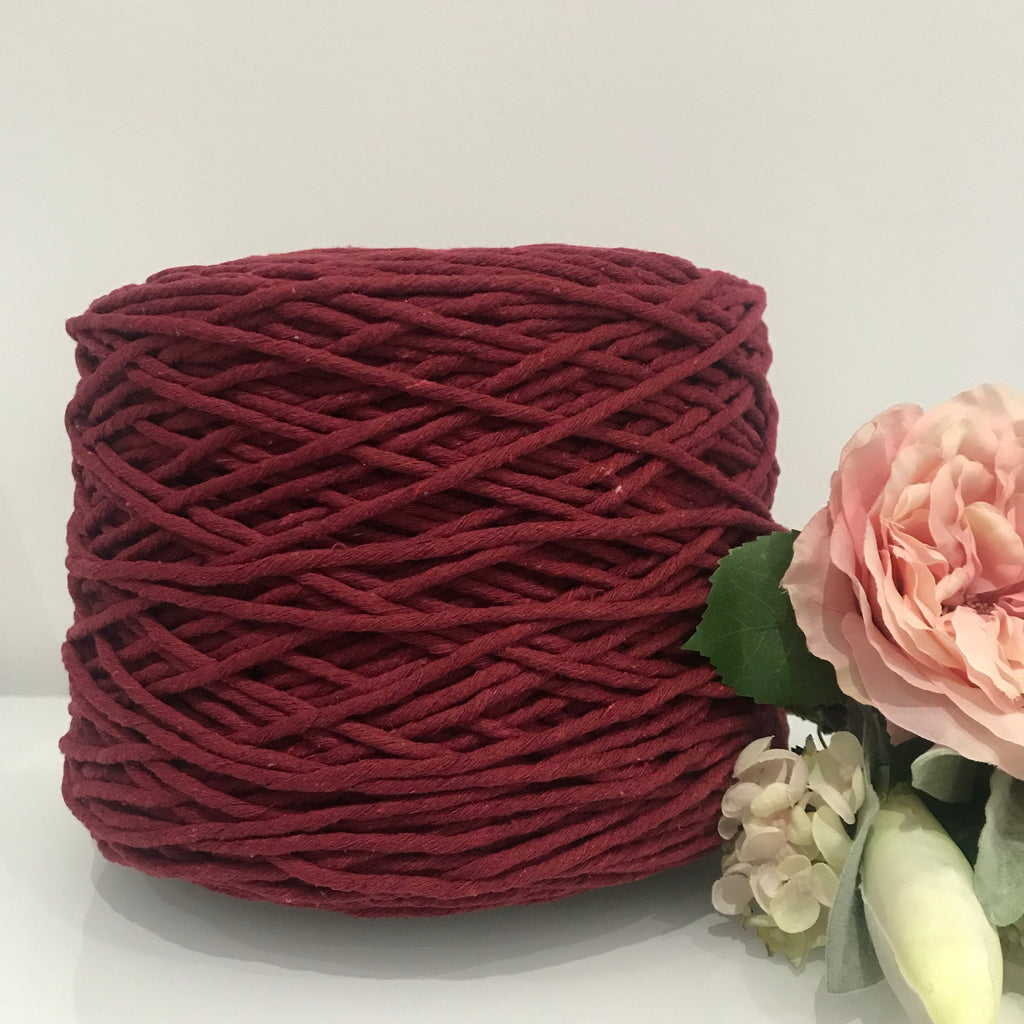 Coloured Cotton 1ply Cotton String - 8mm - Red Wine