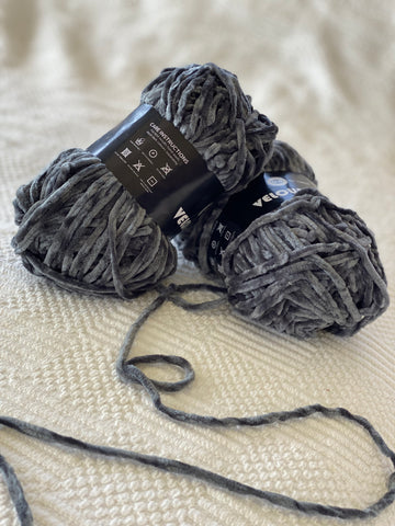 Velour Yarn - Dark Grey - PACK OF 10