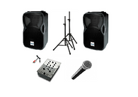 PA System (1 Microphone, 2 Speakers/stand, 1 Mixer)