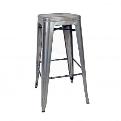 Tolix Stool 76cm – Metallic Grey