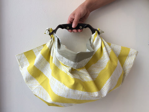 borsa furoshiki giallo e grigio, furoshiki bag in yellow and gray