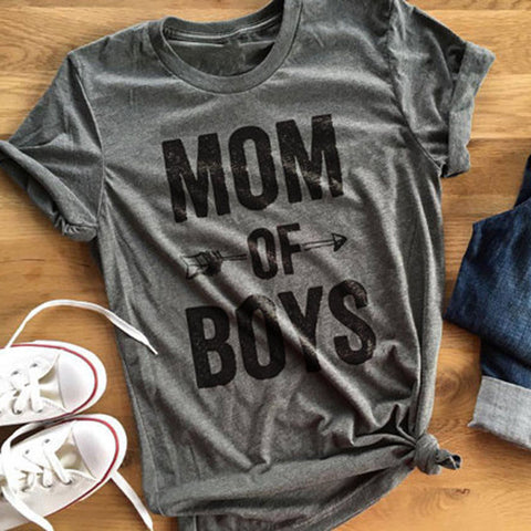 MOM OF BOYS t-shirt red grey short sleeve tee
