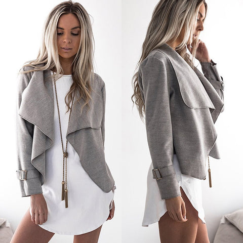Women Turn-down Collar Long Sleeve Cardigan