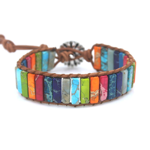 boho wrap bracelet for women Leather rope with stone beaded Fancy bracelet handmade dropshipping