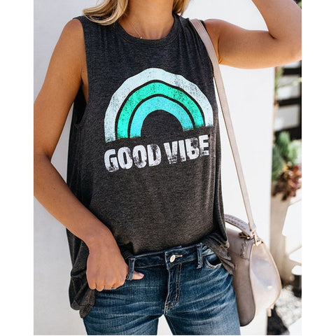 Summer Rainbow Stripe and Letter GOOD VIBES Tank Top