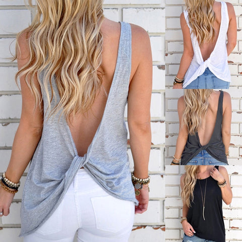 Sleeveless Backless Shirt Knotted Tank Top