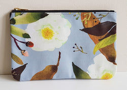 Carry All Pouch/ Clutch Bag - Vintage Paeonia Krinkle