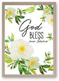 God Bless Our Home Paeonia Krinkle- Art Print/ Plaque