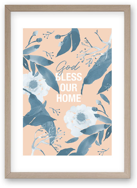 God Bless Our Home Duotone -Art Print/ Plaque