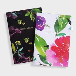 A5 Dot Grid And Lined Notebooks Set of 2 - Black and Magenta Florals