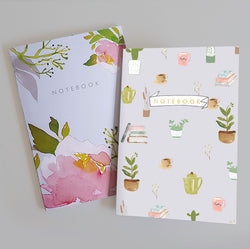 A5 Bullet Dot Grid Notebooks Set of 2 - Soft Floral Pack