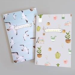 A5 Bullet Dot Grid Notebooks Set of 2 - Birds And Plants