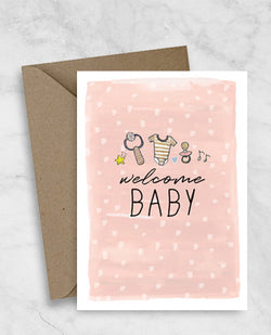 New Baby Greeting Card - Welcome Baby Girl