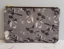 Carry All Pouch/ Clutch Bag - Oriental Black & White Florals