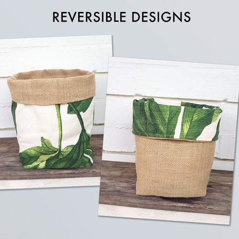 Fabric Hessian Reversible Planter Pot Cover - Lush Green