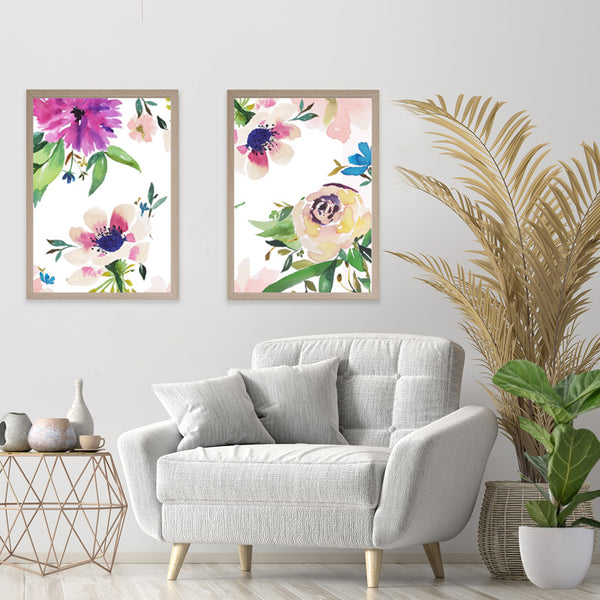 Set of 4 watercolour floral art - Garden in Spring