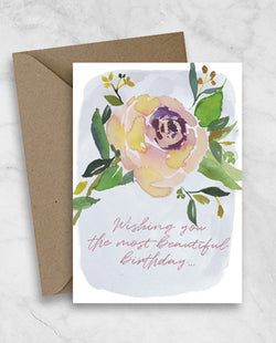 Birthday Greeting Card - Beautiful Violet Floral