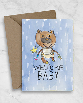 Welcome Newborn Baby Greeting Card - Teddy Bear