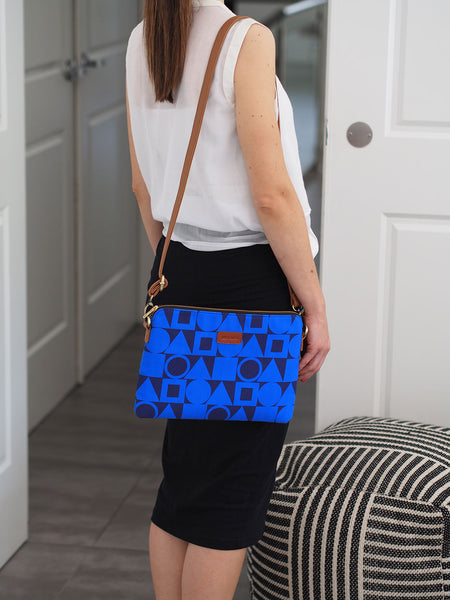 NEW Cross Body Bag - Cobalt Blue Shapes