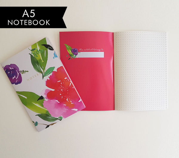 Magenta Florals Bullet Dot Journal Notebook