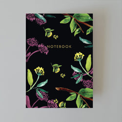 A5 Lined Notebook - Black Florals