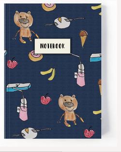 Navy Denim Blue Teddy Notebook