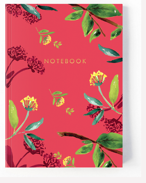 Oriental Red Floral Notebook