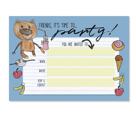 Teddy Bear Birthday Party Invitation Card - Blue