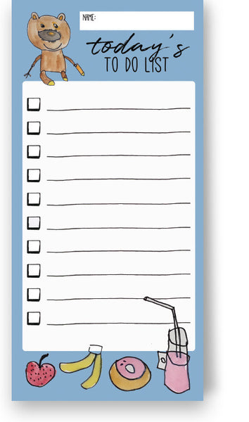 Teddy's To Do List Blue Colour Notepads