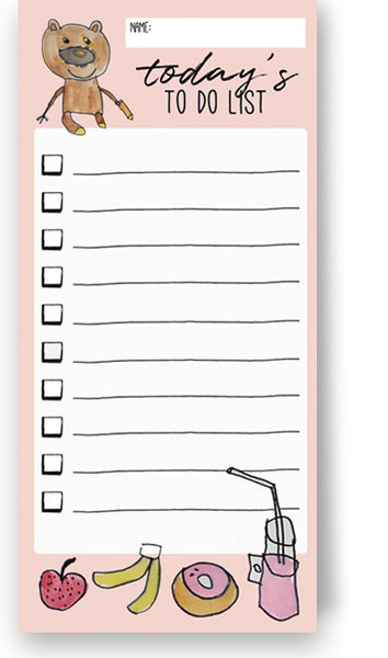 Teddy's To Do List Blush Colour Notepads