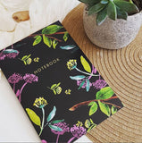 Black Floral A5 Lined Notebook