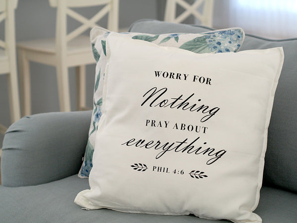 Washable Cushion Cover Quotes - Do Not Worry Philipians 4:6