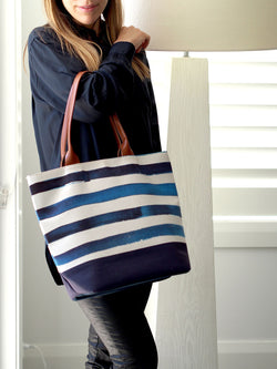PRICE REDUCED - Tote Bag Blue Stripes