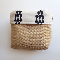 Fabric Hessian Reversible Planter Pot Cover - Rain drops