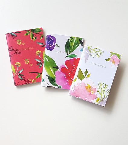 A6 Premium Notebook Set of 3 - Floral Pack