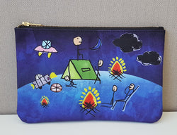 Carry All Pouch/ Clutch Bag - Magical Camping Night