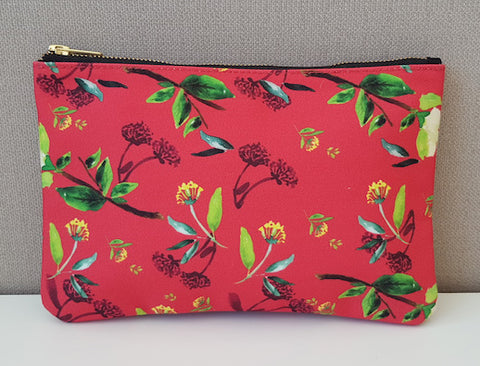 Carry All Pouch/ Clutch Bag - Oriental Red Florals